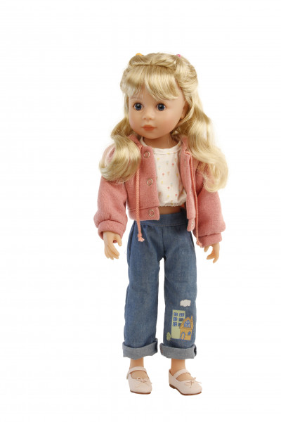 Stehpuppe Yella 46 cm blonde Haare, Kleidung rose/weiss/blau