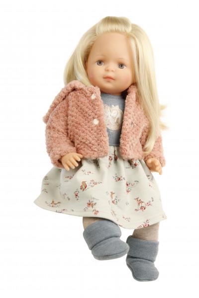 Puppe Strampelchen 37 blonde Haare, braune Malaugen, Winterkleidung