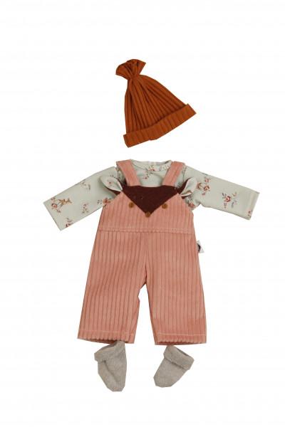Kleidung zu Puppe Schlummerle 32 cm, winterlich in mint/rose/rostbraun