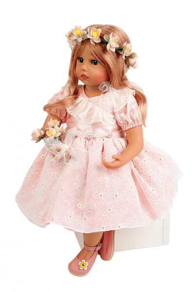 Puppe Elena sitzend 53 cm von Sybille Sauer rotblonde Haare, rose Sommerkleid