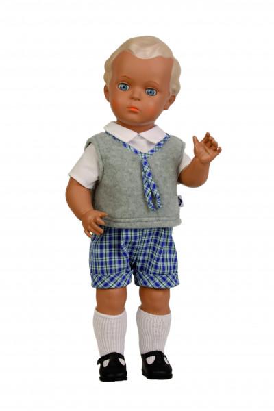 Puppe Hans 49 cm blonde Malhaare, Schulkleidung blau/weiss/grau
