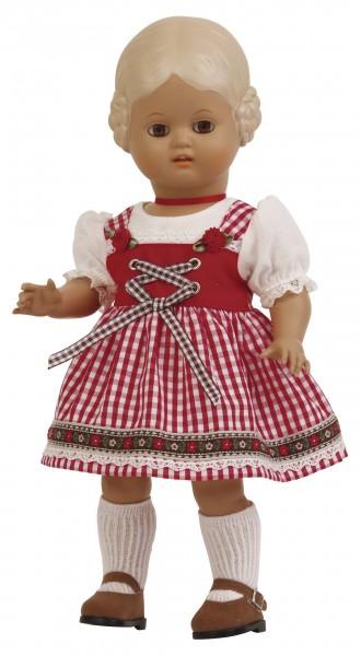 Puppe Bärbel 34 cm blonde Malhaare , Dirndl rot/weiss