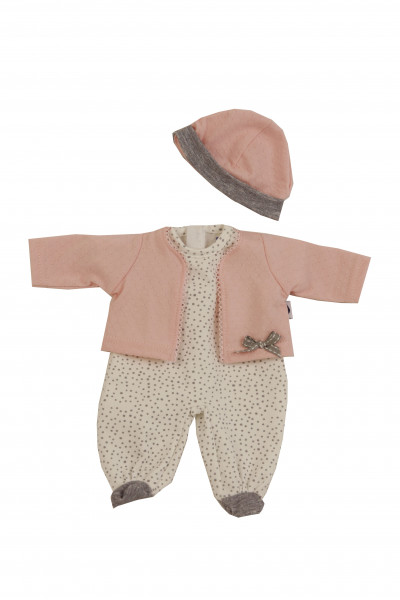 Kleidung zu Puppe Schlummerle 32 cm, Overall mit Jacke und Mütze rose/weiss/grauu/weiss/grau