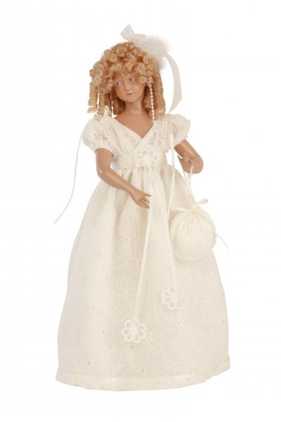 Modepuppe 38 cm blonde Perücke, auf Puppenständer montiert