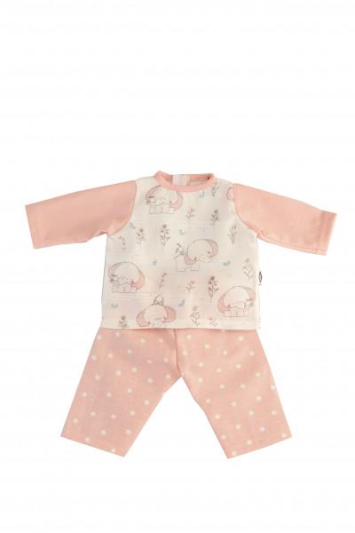 Kleidung Schlafanzug zu Puppe 32 -52 cm rose/weiss
