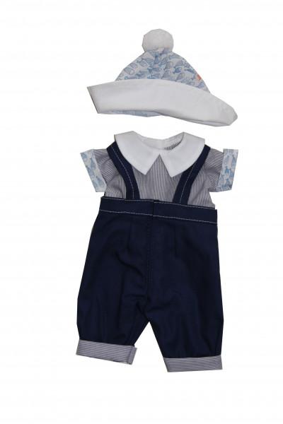 Anzug zu Baby Strampelchen 31+35+45 cm blau/weiss