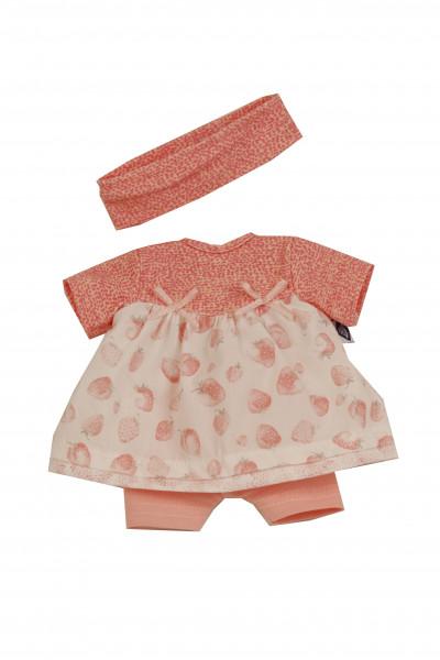Kleidung zu Puppe Schlummerle 32 cm, sommerlich mit Erdbeerdruck in rose/weiss
