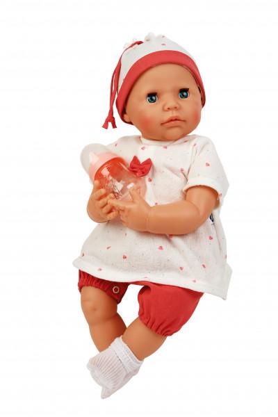 Baby Julchen 52 cm Malhaar, blaue Schlafaugen, Kleidung rot/weiss, mit Flasche