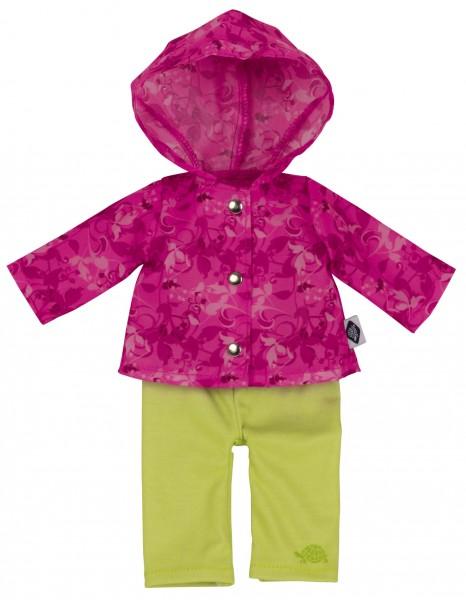 Regenanzug grün/pink für Puppe Emmeline 30 cm