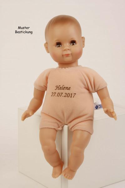 Puppe Schlummerle 32 cm mit Malhaar und braunen Schlafaugen, Kleidung rose/weiss