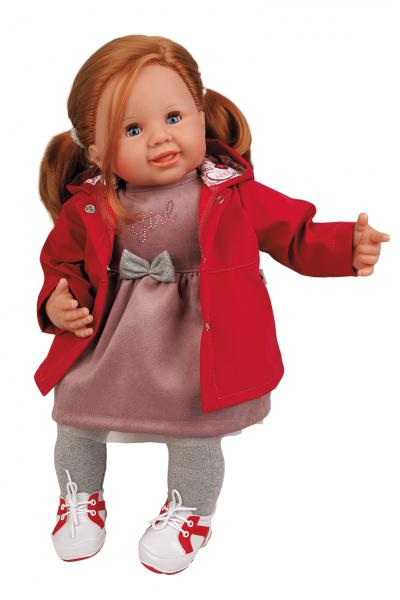 Puppe Klara 52 cm rote Haare, blaue Schlafaugen, Kleidung rose/rot/grau