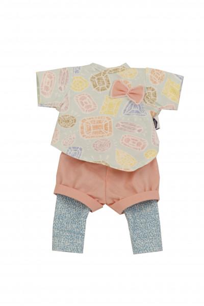 Kleidung zu Puppe Schlummerle 32 cm, sommerlich in mint/türkis/rose