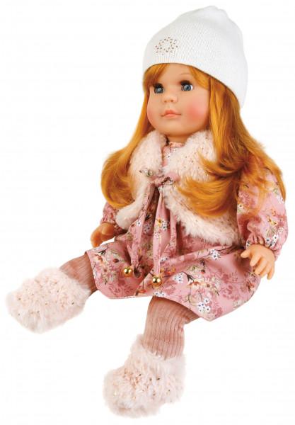 Puppe Hanni 45 cm rote Haare, blaue Schlafaugen, Kleidung winterlich in rose