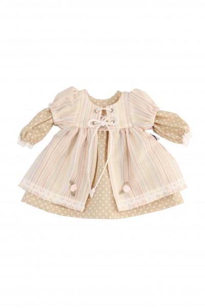 Kleid für Stehpuppe 41 -70 cm Sommerkleid braun/beige/rose
