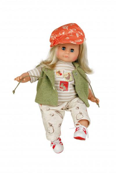 Puppe Schlummerle 37 cm blonde Haare, blaue Schlafaugen, Kleidung beige/grün/orange