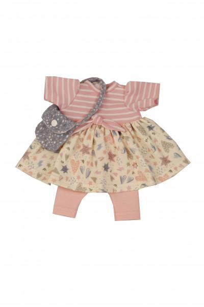 Kleidung zu Puppe Schlummerle 32 cm, sommerlich in rose/grau mit Tasche