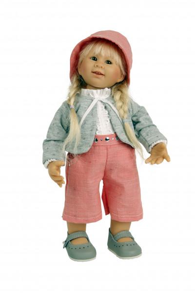 Puppe Müller-Wichtel Rosi 30 cm blonde Haare, Kleidung rose/weiss/blau