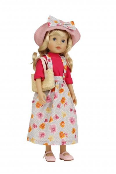 Stehpuppe Yella 46 cm blonde Haare, Kleidung rot/blau mit Tasche und Hut