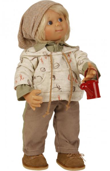 Puppe Müller-Wichtel Stephan 30 cm, blonde Haare, Kleidung braun/beige/oliv