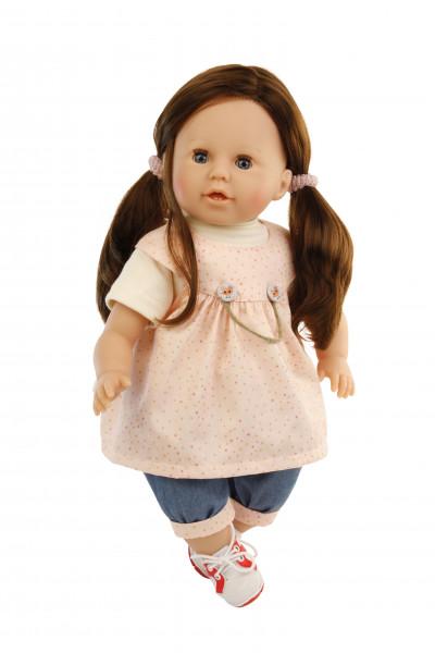 Puppe Susi 45 cm braune Haare, blaue Schlafaugen, Kleidung weiss/rose/blau