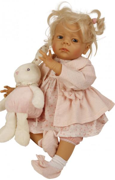 Baby Colette 50 cm von Karola Wegerich blonde Haare, Kleidung rose