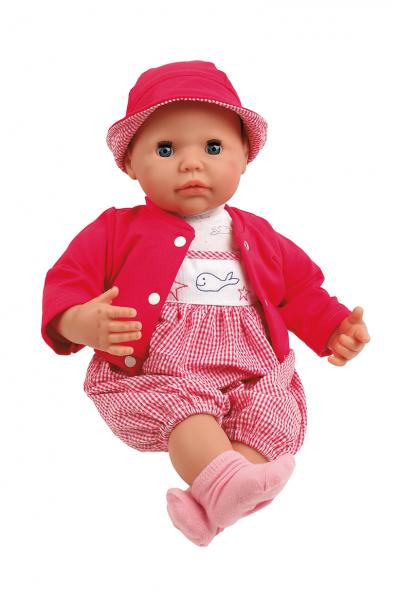 Baby Julchen 52 cm Malhaar, blaue Schlafaugen, Kleidung rot/weiss