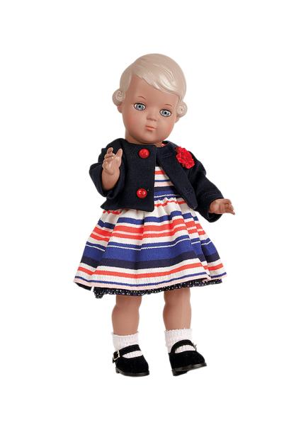 Puppe Inge 34 cm blonde Malhaare, Kleidung blau/weiss/rot