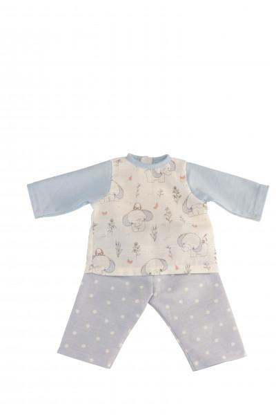 Kleidung Schlafanzug zu Puppe 32 -52 cm blau/weiss