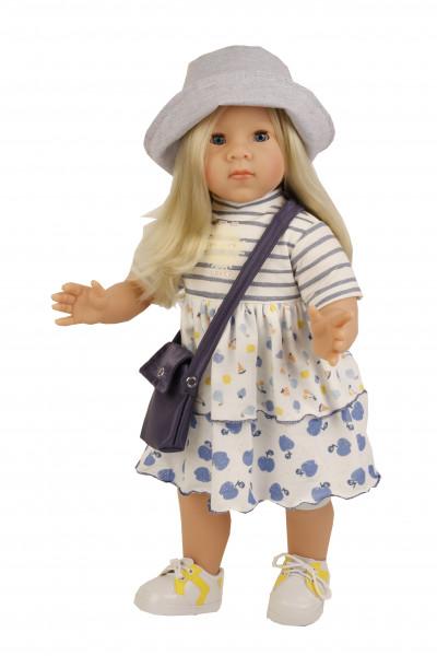 Stehpuppe Elli 52 cm blonde Haare, blaue Schlafaugen, sommerkliche Kleidung blau/weiss/gelb
