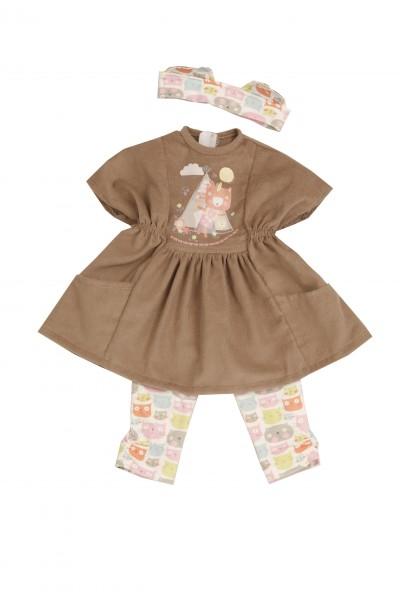 Kleidung zu Puppe 52 cm Elli/ Klara/ Julchen braun mit Katzenmotiv