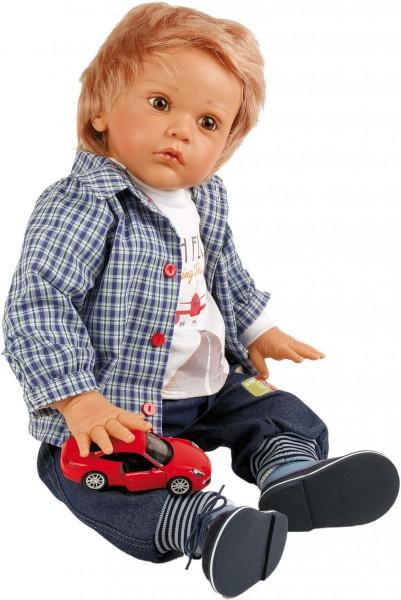 Puppe Aaron 60 cm von Gudrun Legler, rotblonde Haare, Kleidung blau/weiss