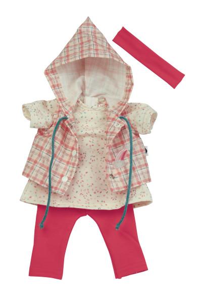 Kleidung zu Puppe 37 cm Schlummerle/Strampelchen/Schlenkerle/Lenchen rot/weiss/rose