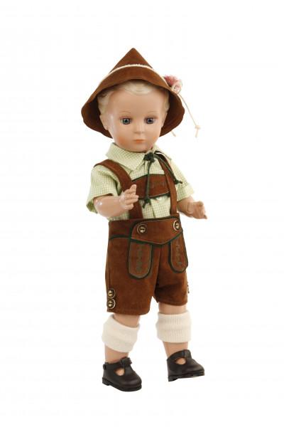 Puppe Hans 41 cm Miblu blonde Malhaare, blaue Glaskugelaugen, Trachtenkleidung