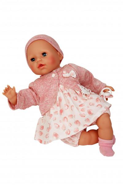 Baby Amy 45 cm mit Schnuller, Malhaar, blaue Schlafaugen, Kleid weiß/rose mit Erdbeerdruck