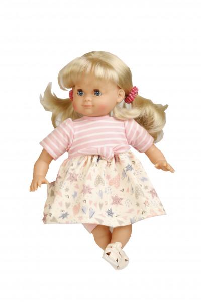 Puppe Schlummerle 32 cm blonde Haare, blaue Schlafaugen, Sommerkleidung rose/weiss/blau