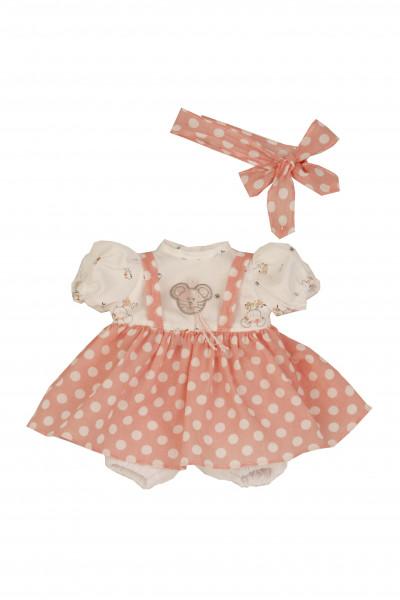 Kleidung zu Puppe Schlummerle 32 cm, sommerlich in rose/weiss