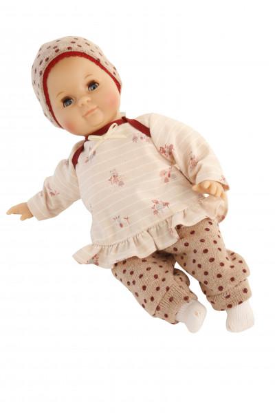 Puppe Schlummerle 32 cm mit Malhaar und blauen Schlafaugen, Kleidung rose/weinrot