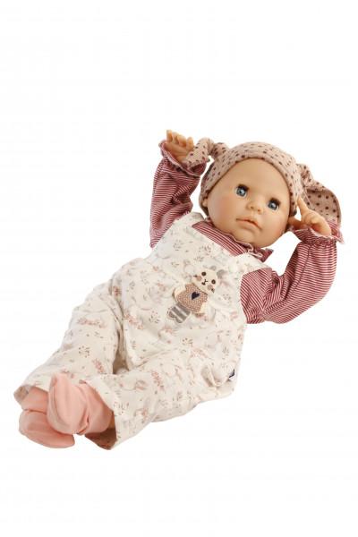 Baby Julchen 52 cm Malhaar, blaue Schlafaugen, Kleidung rot/rose/weiss