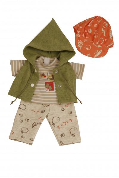 Kleidung zu Puppe 37 cm Schlummerle/Strampelchen/Schlenkerle beige/grün/orange