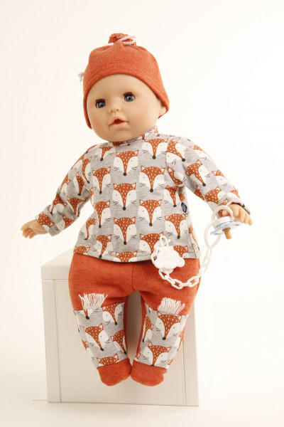 Kleidung zu Baby Amy 45 cm mit Fuchsprint