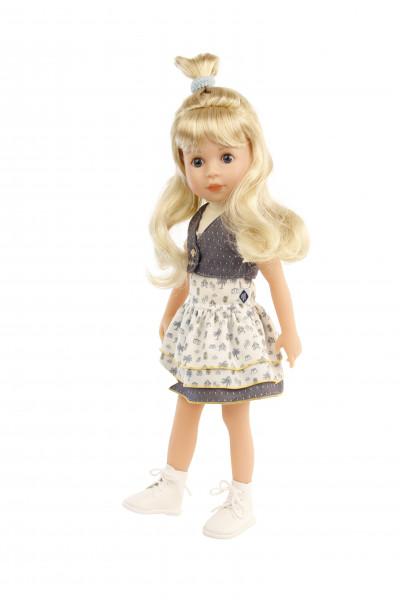 Stehpuppe Yella 46 cm blonde Haare, Kleidung weiss/blau