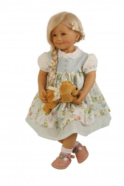Puppe Jenny sitzend 65 cm von Sieglinde Frieske blonde Haare, Sommerkleid weiss/mint