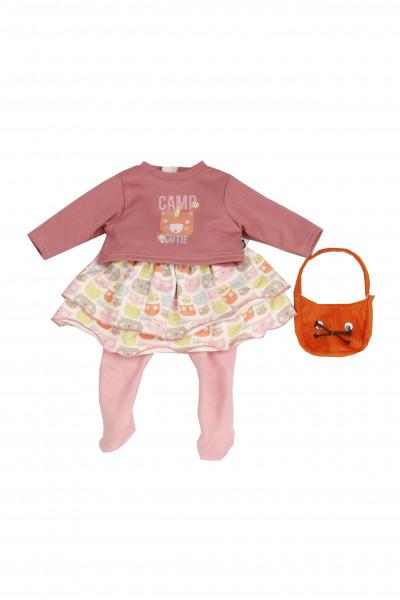 Kleidung zu Puppe 45 cm Hanni/Susi rose mit Katzenprint