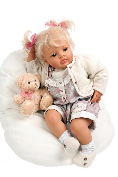 Baby Melissa 50 cm von Natali Blick blonde Haare, Kleidung weiss/rose