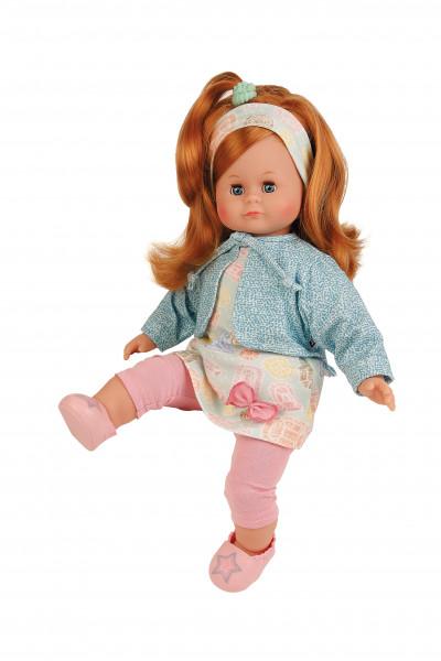 Puppe Schlummerle 37 cm rote Haare, blaue Schlafaugen, Kleidung rose/mint/gelb