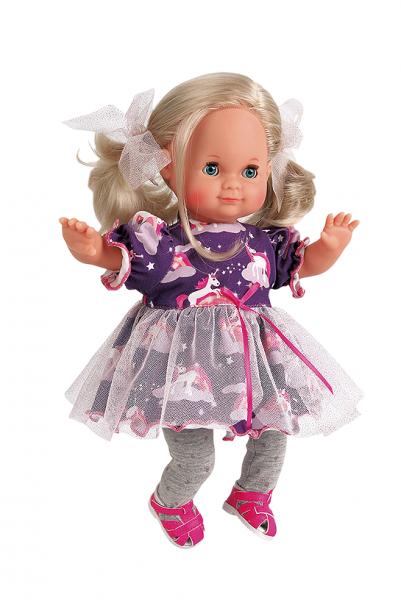 Puppe Schlummerle 32 cm blonde Haare, blaue Schlafaugen, Einhornkleidung