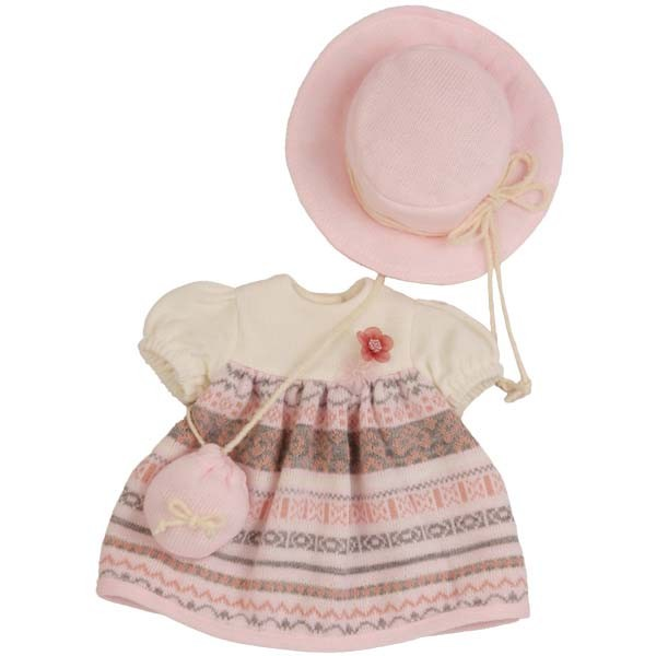 Kleidung zu Stehpuppe 41 cm Winterkleidung rose/weiss