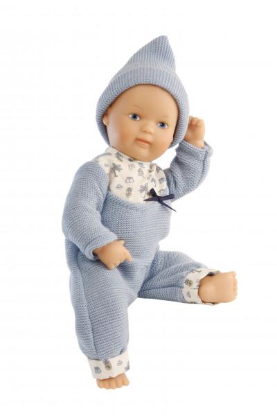 Puppe Mein 1. Baby 28 cm mit Malhaar und blauen Malaugen, Overall blau/weiß Strick