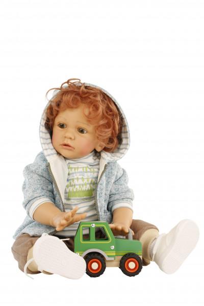 Puppe Louis 60 cm von Gudrun Legler, rote Haare, Kleidung braun/weiss/türkis