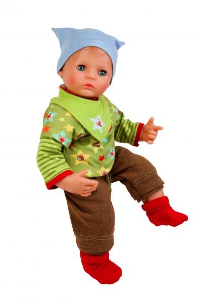 Puppe Peterle 52 cm mit Malhaar, blauen Schlafaugen, Kleidung braun/grün/blau